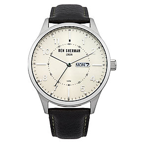 Ben Sherman Men's Spitalfields Day Date Black Leather Watch - Product number 2318016