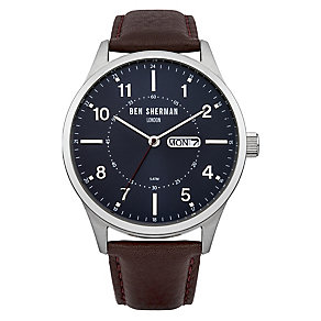 Ben Sherman Men's Spitalfields Day Date Brown Leather Watch - Product number 2318032