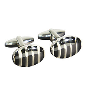 Oval Black and Silver Coloured Striped Cufflinks - Product number 2318377
