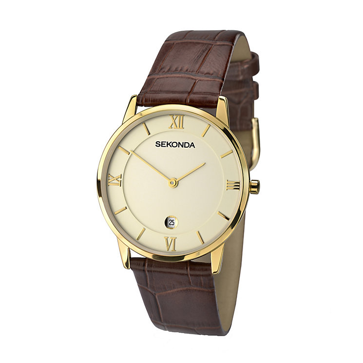 Sekonda Men's Gold Plate & Brown Leather Strap Watch - Product number 2319187