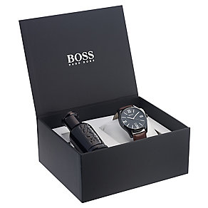 Hugo Boss men's brown leather strap watch & fragrance set - Product number 2319225