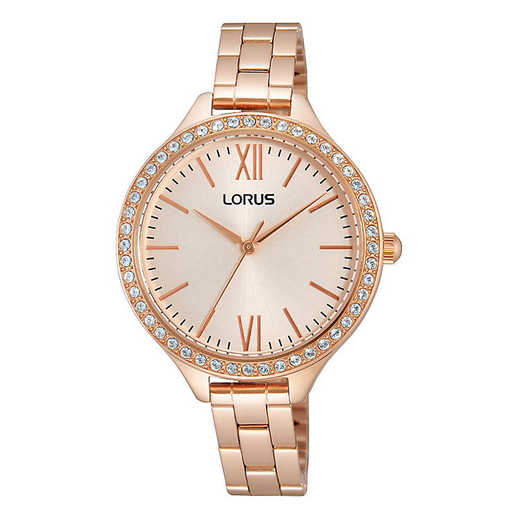 Lorus Ladies' Rose Gold Plated Crystal Set Bracelet Watch - Product number 2319314