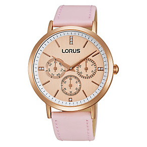 Lorus Ladies' Rose Gold Plated Pink Leather Strap Watch - Product number 2319322
