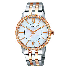 Lorus Ladies' Mother of Pearl Two Tone Crystal Set Watch - Product number 2319330