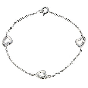 Small Silver Three Heart Bracelet - Product number 2319543