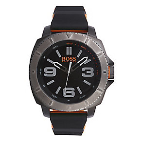 Boss Orange Men's Black, Grey And Orange Silicone Watch - Product number 2320711