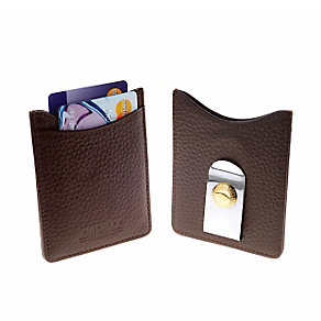 Jean Pierre brown leather cardholder & money clip - Product number 2322439