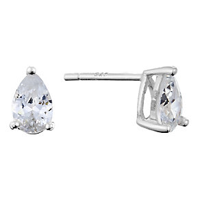 Sterling Silver & Pear Shaped Cubic Zirconia Stud Earrings - Product number 2324407