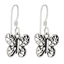 Sterling Silver Butterfly Drop Earrings - Product number 2324423