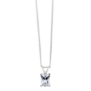 Sterling Silver & Emerald Cut Cubic Zirconia Drop Pendant - Product number 2324458