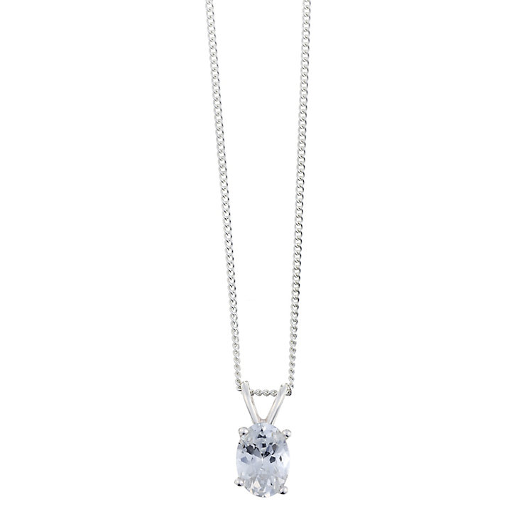 Sterling Silver & Oval Shaped Cubic Zirconia Drop Pendant - Product number 2324474