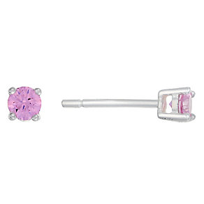 Sterling Silver & Pink Cubic Zirconia Round Stud Earrings - Product number 2324490