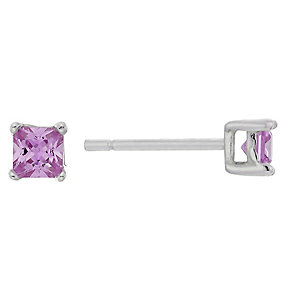 Sterling Silver & Pink Cubic Zirconia Square Stud Earrings - Product number 2324520