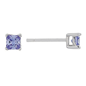 Sterling Silver & Purple Cubic Zirconia Square Stud Earrings - Product number 2324547