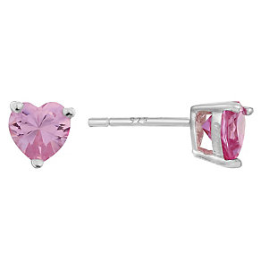 Sterling Silver & Pink Cubic Zirconia Heart Stud Earrings - Product number 2324598