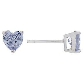 Sterling Silver & Purple Cubic Zirconia Heart Stud Earrings - Product number 2324660