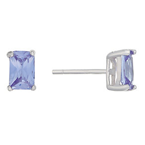 Sterling Silver & Emerald Cut Purple Cubic Zirconia Earrings - Product number 2324687