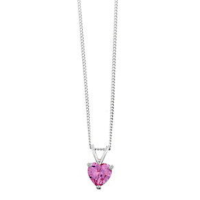 Sterling Silver & Heart Shaped Pink Cubic Zirconia Pendant - Product number 2324709
