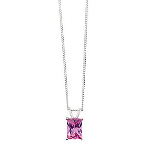 Sterling Silver & Emerald Cut Pink Cubic Zirconia Pendant - Product number 2324733