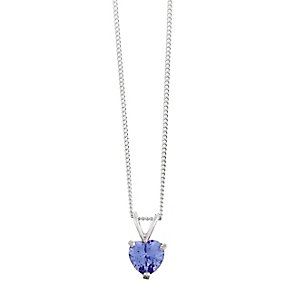 Sterling Silver & Heart Shaped Purple Cubic Zirconia Pendant - Product number 2324768