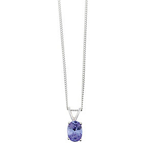 Sterling Silver & Oval Shaped Purple Cubic Zirconia Pendant - Product number 2324776