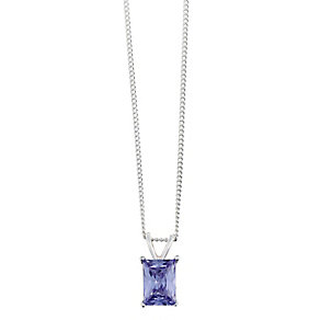 Sterling Silver & Emerald Cut Purple Cubic Zirconia Pendant - Product number 2324784
