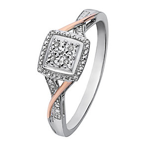 Silver & 9ct Rose Gold Square Diamond Cluster Ring - Product number 2326752