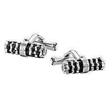 Montblanc stainless steel & black onyx shaped bar cufflinks - Product number 2327600
