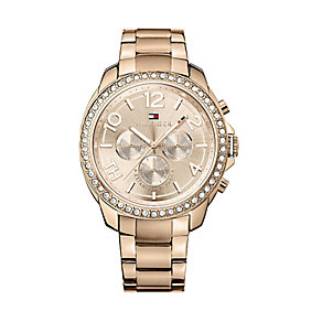 Tommy Hilfiger Ladies' Rose Gold Plated Crystal Set Watch - Product number 2328976