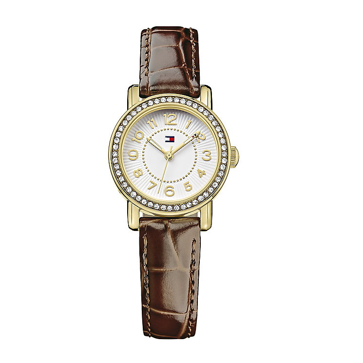 Tommy Hilfiger Ladies' Crystal Set Brown Leather Strap Watch - Product number 2328992