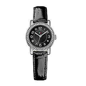 Tommy Hilfiger Ladies' Crystal Set Black Leather Strap Watch - Product number 2329018