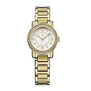 Tommy Hilfiger Ladies' Yellow Gold Plated Crystal Set Watch - Product number 2329034