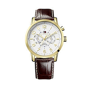 Tommy Hilfiger Men's Yellow Gold Tone & Leather Strap Watch - Product number 2329085