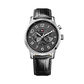 Tommy Hilfiger Men's Stainless Steel & Black Leather Watch - Product number 2329093