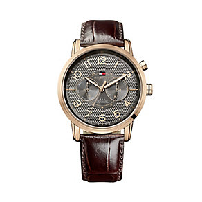 Tommy Hilfiger Men's Rose Gold Plate & Brown Leather Watch - Product number 2329107