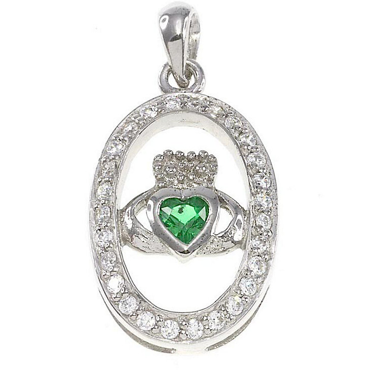 Cailin Sterling Silver Cubic Zironia Claddagh Oval Pendant - Product number 2329565