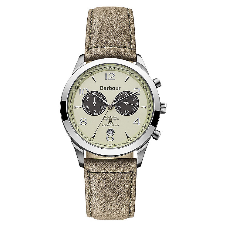 Barbour Redley men's chronograph beige leather strap watch - Product number 2332620