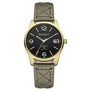 Barbour Alanby men's gold-plated green fabric strap watch - Product number 2332736