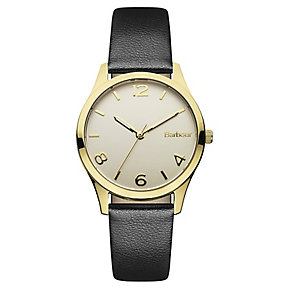 Barbour Afton ladies' gold-plated black leather strap watch - Product number 2333120