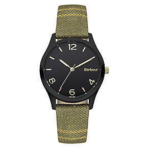 Barbour Afton ladies' ion-plated green fabric strap watch - Product number 2333147