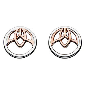 Kit Heath Silver & Rose Gold Plate Leaf Design Stud Earrings - Product number 2335174