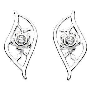 Kit Heath Silver & Cubic Zirconia Flower Leaf Stud Earrings - Product number 2335352