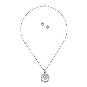 Mikey Silver Tone Crystal Circle Earring & Pendant Set - Product number 2335727