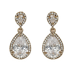 Mikey Yellow Gold Tone Large Teardrop Crystal Earrings - Product number 2335778