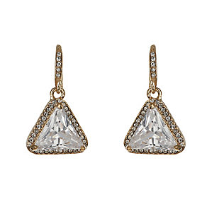 Mikey Yellow Gold Tone Large Triangle Crystal Drop Earrings - Product number 2335786