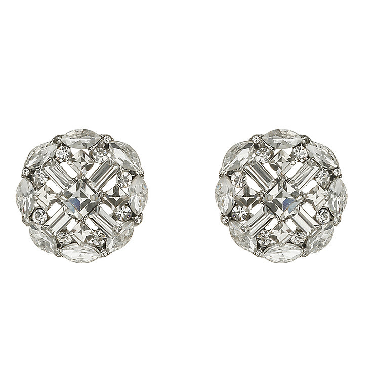 Mikey Silver Tone Cross Design Crystal Set Clip On Earrings - Product number 2335905