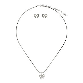 Mikey Silver Tone Crystal Set Bow Earring & Pendant Set - Product number 2335921