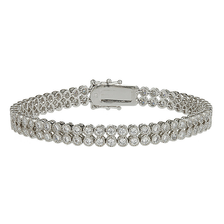 Mikey Silver Tone Double Strand Cubic Zirconia Bracelet - Product number 2335964