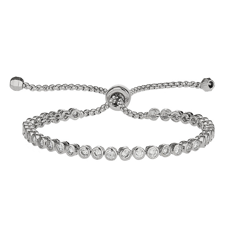 Mikey Silver Tone Cubic Zirconia Self Locking Bracelet - Product number 2336049