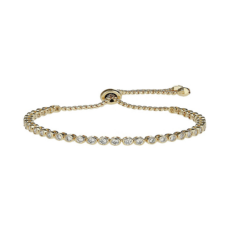MIkey Yellow Gold Tone Cubic Zirconia Self Locking Bracelet - Product number 2336057
